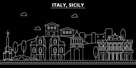 Sicily silhouette skyline. italy - Sicily vector city, italian linear architecture, buildings. Sicily line travel illustration, landmarks. italy flat icon, italian outline design banner