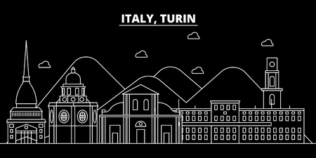 Turin silhouette skyline. Italy - Turin vector city, italian linear architecture, buildings. Turin line travel illustration, landmarks. Italy flat icon, italian outline design banner