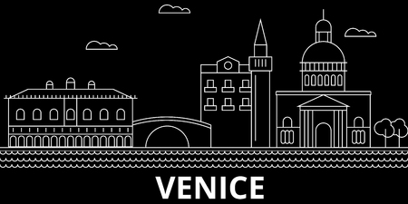 Venice silhouette skyline. Italy - Venice vector city, italian linear architecture, buildings. Venice line travel illustration, landmarks. Italy flat icon, italian outline design banner