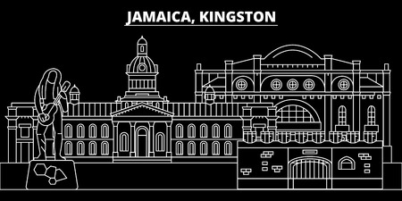 Kingston silhouette skyline. Jamaica - Kingston vector city, jamaican linear architecture, buildings. Kingston line travel illustration, landmarks. Jamaica flat icon, jamaican outline design banner