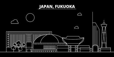 Fukuoka silhouette skyline. Japan - Fukuoka vector city, japanese linear architecture, buildings. Fukuoka line travel illustration, landmarks. Japan flat icon, japanese outline design banner