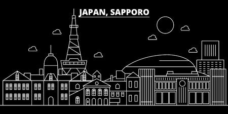 Sapporo silhouette skyline. Japan - Sapporo vector city, japanese linear architecture, buildings. Sapporo line travel illustration, landmarks. Japan flat icon, japanese outline design banner Stock Illustratie