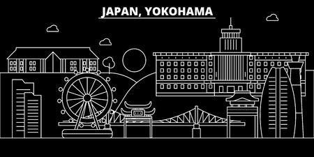 Yokohama silhouette skyline. Japan - Yokohama vector city, japanese linear architecture, buildings. Yokohama line travel illustration, landmarks. Japan flat icon, japanese outline design banner Stock Illustratie