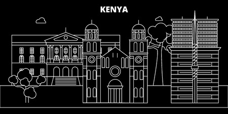 Kenya silhouette skyline, vector city, kenyan linear architecture, buildings. Kenya travel, illustration, outline landmarkflat icon, kenyan line banner