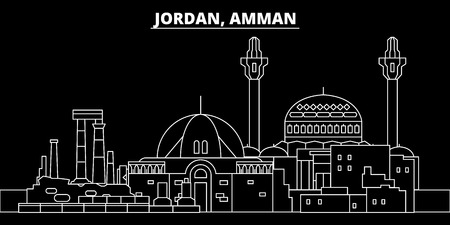 Amman silhouette skyline. Jordan - Amman vector city, jordian linear architecture, buildings. Amman line travel illustration, landmarks. Jordan flat icon, jordian outline design banner Banco de Imagens - 102159772