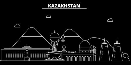 Kazakhstan silhouette skyline. Kazakhstan - Alma-ata, Astana vector city, kazakh linear architecture, line travel illustration, landmarks. Kazakhstan flat icon, kazakh outline design, banner