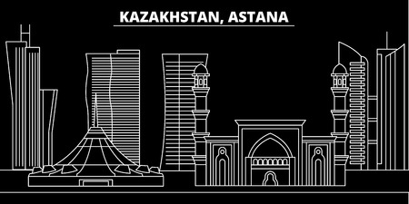 Astana silhouette skyline. Kazakhstan - Astana vector city, kazakh linear architecture, buildings. Astana line travel illustration, landmarks. Kazakhstan flat icon, kazakh outline design banner