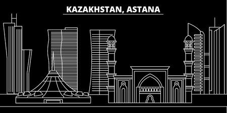 Astana silhouette skyline. Kazakhstan - Astana vector city, kazakh linear architecture, buildings. Astana line travel illustration, landmarks. Kazakhstan flat icon, kazakh outline design banner
