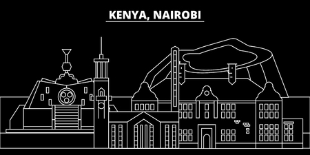 Nairobi silhouette skyline. Kenya - Nairobi vector city, kenyan linear architecture, buildings. Nairobi travel illustration, outline landmarks. Kenya flat icon, kenyan line design banner