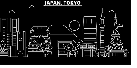 Tokyo city silhouette skyline. Japan - Tokyo city vector city, japanese linear architecture, buildings. Tokyo city line travel illustration, landmarks. Japan flat icon, japanese outline design banner Illustration