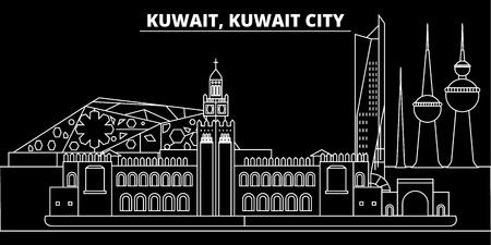 Skyline silhouette du Koweït, ville de vecteur, architecture linéaire koweïtienne, bâtiments. Illustration de voyage en ligne au Koweït, icône de repère plat, conception de contour koweïtien, bannière