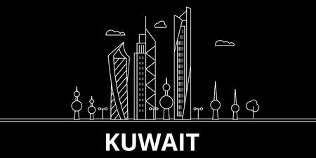 Kuwait silhouette skyline, vector city, kuwaiti linear architecture, buildings. Kuwait line travel illustration, landmarkflat icon, kuwaiti outline design, banner Illustration