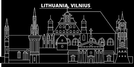 Vilnius silhouette skyline. Lithuania - Vilnius vector city, lithuanian linear architecture, buildings. Vilnius line travel illustration, landmarks. Lithuania flat icon, lithuanian outline design banner