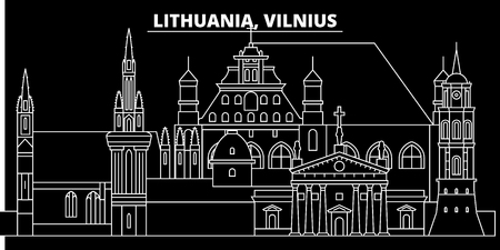 Vilnius silhouette skyline. Lithuania - Vilnius vector city, lithuanian linear architecture, buildings. Vilnius line travel illustration, landmarks. Lithuania flat icon, lithuanian outline design banner