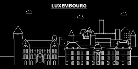Luxembourg silhouette skyline, vector, city, luxembourgish linear architecture, buildings. Luxembourg travel illustration, outline landmarkflat icon, luxembourgish line banner Stock Illustratie