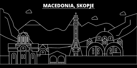 Skopje silhouette skyline. Macedonia - Skopje vector city, macedonian linear architecture, buildings. Skopje line travel illustration, landmarks. Macedonia flat icon, macedonian outline design banner Stockfoto - 102159791