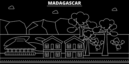 Madagascar silhouette, skyline, vector city, malagasy linear architecture, buildings. Madagascar travel illustration, outline landmarkflat icon, malagasy line banner