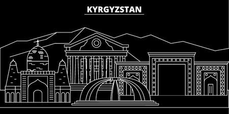 Kyrgyzstan silhouette skyline, vector city, kyrgyz linear architecture, buildings. Kyrgyzstan travel, illustration, outline landmarkflat icon, kyrgyz line banner
