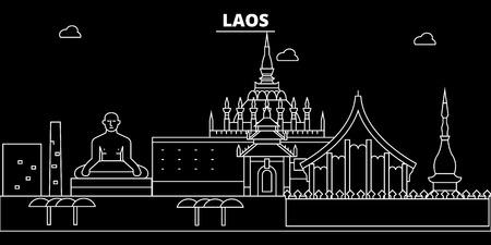 Laos silhouette, skyline, vector city, lao linear architecture, buildings. Laos travel illustration, outline landmarkflat icon, lao line banner