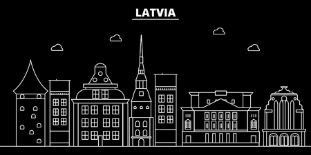 Latvia silhouette skyline, vector city, latvian linear architecture, buildings. Latvia travel, illustration, outline landmarkflat icon, latvian line banner