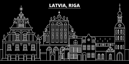 Riga silhouette skyline. Latvia - Riga vector city, latvian linear architecture, buildings. Riga line travel illustration, landmarks. Latvia flat icon, latvian outline design banner