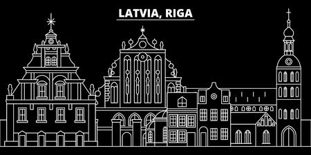 Riga silhouette skyline. Latvia - Riga vector city, latvian linear architecture, buildings. Riga line travel illustration, landmarks. Latvia flat icon, latvian outline design banner