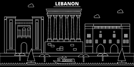 Horizonte de silueta de Beirut. Líbano - ciudad de vector de Beirut, arquitectura lineal libanesa, edificios. Ilustración de viajes de línea de Beirut, monumentos. Icono plano de Líbano, banner de diseño de contorno libanés Ilustración de vector