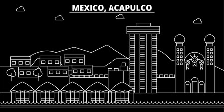 Acapulco silhouette skyline. Mexico - Acapulco vector city, mexican linear architecture, buildings. Acapulco line travel illustration, landmarks. Mexico flat icon, mexican outline design banner