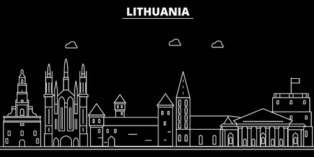 Lithuania silhouette skyline, city vector, lithuanian linear architecture, buildings. Lithuania line travel illustration, landmarkflat icon, lithuanian outline design banner