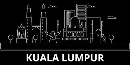 Kuala lumpur silhouette skyline. Malaysia - Kuala lumpur vector city, malaysian linear architecture, buildings. Kuala lumpur line travel illustration, landmarks. Malaysia flat icon, malaysian outline design banner