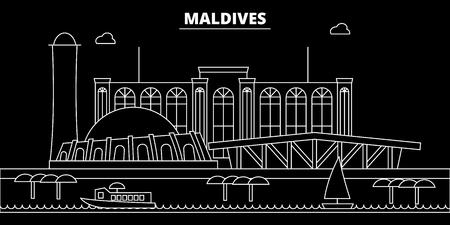 Maldives silhouette, skyline, vector city, maldivian linear architecture, buildings. Maldives travel illustration, outline landmarkflat icon, maldivian line banner  イラスト・ベクター素材