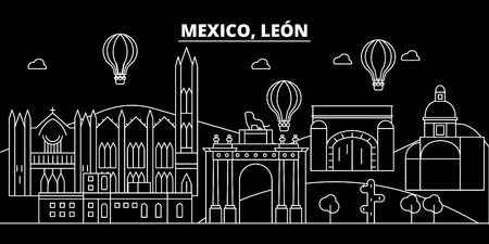 Leon silhouette, skyline. Mexico - Leon vector city, mexican linear architecture, buildings. Leon line travel illustration, landmarks. Mexico flat icon, mexican outline design banner