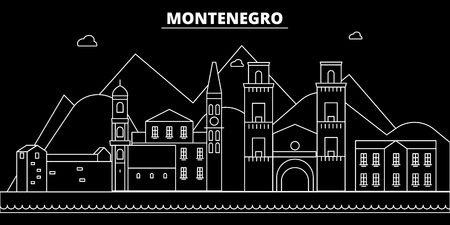 Montenegro silhouette skyline, vector, city, montenegrin linear architecture, buildings. Montenegro travel illustration, outline landmarkflat icon, montenegrin line banner