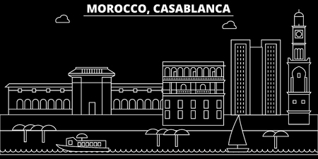 Casablanca silhouette skyline. Morocco - Casablanca vector city, moroccan linear architecture, buildings. Casablanca line travel illustration, landmarks. Morocco flat icon, moroccan outline design banner