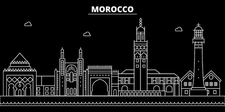 Morocco silhouette skyline, vector, city, moroccan linear architecture, buildings. Morocco travel illustration, outline landmarkflat icon, moroccan line banner