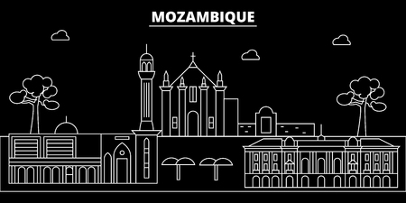Mozambique silhouette skyline, vector, city, mozambican linear architecture, buildings. Mozambique travel illustration, outline landmarkflat icon, mozambican line banner