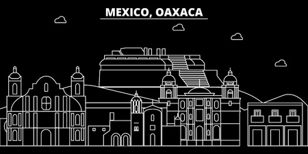 Oaxaca silhouette skyline. Mexico - Oaxaca vector city, mexican linear architecture, buildings. Oaxaca line travel illustration, landmarks. Mexico flat icon, mexican outline design banner Banque d'images - 102159905