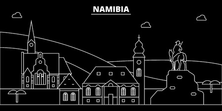 Namibia silhouette skyline, vector, city, namibian linear architecture, buildings. Namibia travel illustration, outline landmarks,flat icon, namibian line banner Иллюстрация