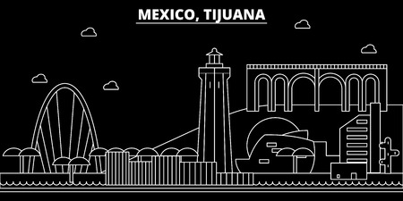 Tijuana silhouette skyline. Mexico - Tijuana vector city, mexican linear architecture, buildings. Tijuana line travel illustration, landmarks. Mexico flat icon, mexican outline design banner
