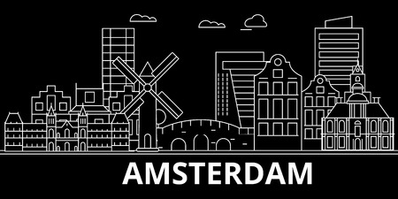 Amsterdam silhouette skyline. Netherlands - Amsterdam vector city, dutch linear architecture, buildings. Amsterdam line travel illustration, landmarks. Netherlands flat icon, dutch outline design banner 向量圖像