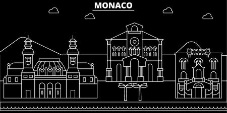 Monaco silhouette skyline, vector, city, monacan linear architecture, buildings. Monaco travel illustration, outline landmarkflat icon, monacan line banner Illustration