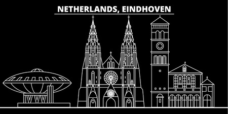 Eindhoven silhouette skyline. Netherlands - Eindhoven vector city, dutch linear architecture, buildings. Eindhoven line travel illustration, landmarks. Netherlands flat icon, dutch outline design banner