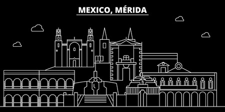 Merida silhouette skyline. Mexico - M rida vector city, mexican linear architecture, buildings. M rida travel illustration, outline landmarks. Mexico flat icon, mexican line design banner