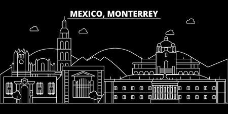 Monterrey silhouette skyline. Mexico - Monterrey vector city, mexican linear architecture, buildings. Monterrey line travel illustration, landmarks. Mexico flat icon, mexican outline design banner
