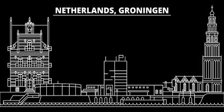 Groningen silhouette skyline. Netherlands - Groningen vector city, dutch linear architecture, buildings. Groningen line travel illustration, landmarks. Netherlands flat icon, dutch outline design banner