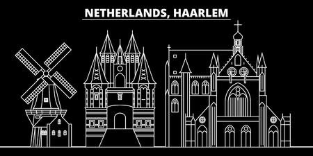 Haarlem silhouette skyline. Netherlands - Haarlem vector city, dutch linear architecture, buildings. Haarlem line travel illustration, landmarks. Netherlands flat icon, dutch outline design banner