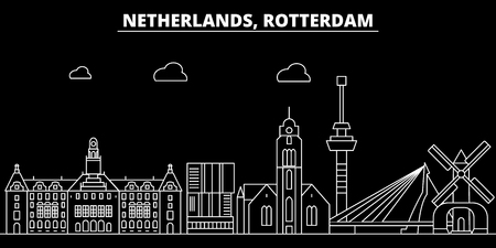Rotterdam silhouette skyline. Netherlands - Rotterdam vector city, dutch linear architecture, buildings. Rotterdam line travel illustration, landmarks. Netherlands flat icon, dutch outline design banner