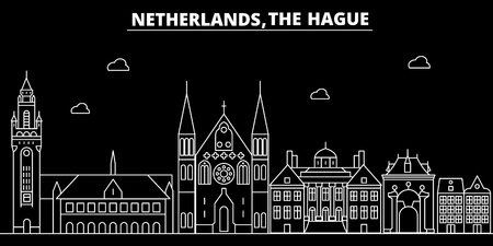The Hague silhouette skyline. Netherlands - The Hague vector city, dutch linear architecture, buildings. The Hague line travel illustration, landmarks. Netherlands flat icon, dutch outline design banner