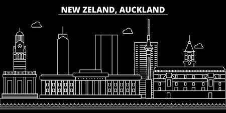 Horizonte de la silueta de Auckland. Nueva Zelanda - ciudad de vector de Auckland, nueva zelanda arquitectura lineal, edificios. Ilustración de viaje de línea de Auckland, monumentos. Icono plano de Nueva Zelanda, banner de diseño de contorno de Nueva Zelanda