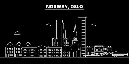 Oslo silhouette skyline. Norway - Oslo vector city, norwegian linear architecture, buildings. Oslo line travel illustration, landmarks. Norway flat icon, norwegian outline design banner Illustration